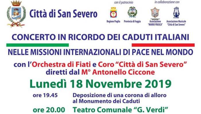 Lunedì a San Severo il concerto per i caduti nelle missioni internazionali di Pace - Puglia In